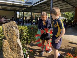 Rainbow Beach State School - Laying of the wreath by Grade 3 students, Pearl and Casey