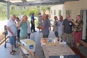 Shed members enjoying an informal BBQ in the undercover area