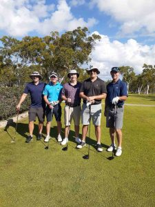Gympie Visitors preparing to hit off on first tee at the Men's Open Day: Luke Kipping, Brad Morgan, Brendan Drew, Damien Perissinotto and Michael Smoothey