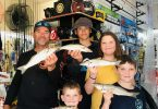 Dad Simon and tribe (oldest to youngest): Jye, Sophie, Luke and Cooper with catches at last year's Annual Gardiner Fisheries Whiting Competition