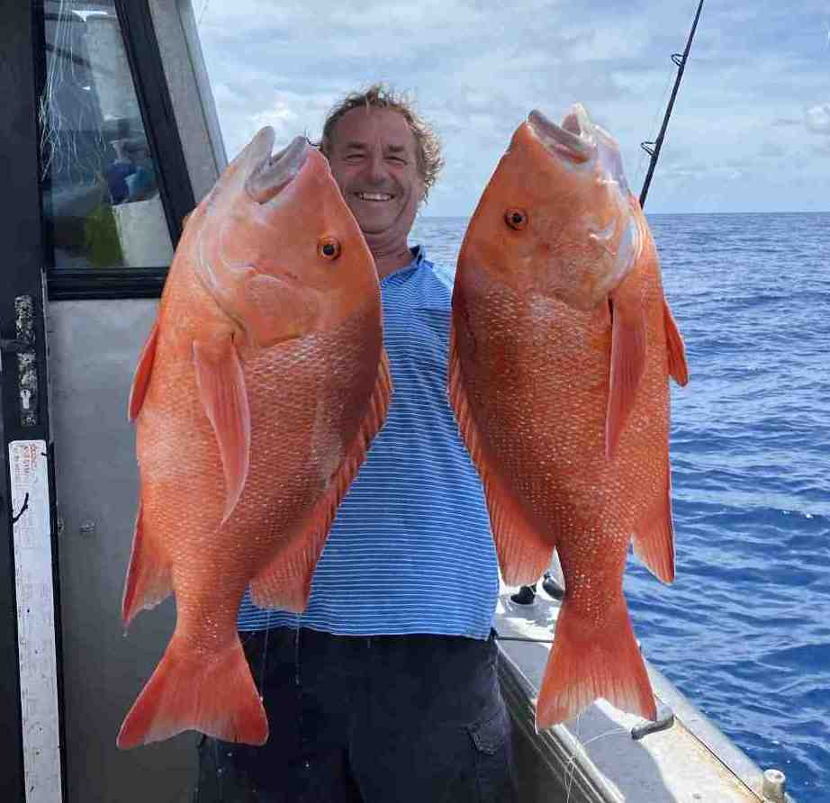 Sometimes even the skipper (Ed Falconer) gets lucky with a beautiful pair of Red Emperor