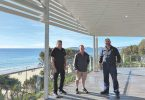 Surf Club General Manager, Ray Holland, Supporters Club President, John Greaney and Surf Club President, Shane Handy take their first walk out on the new verandah.