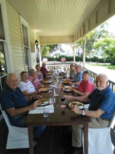 Over 60s members Ray and Lil Kahl, Barbra Gannon, Annette Collins, Doug Collins, Shaneen Baird, Pam Russell, Dorothy and Don Pascoe dine out at Gunabul Homestead in Gympie
