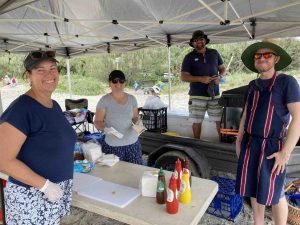 The Sandcastle Competition was so popular, Rainbow Beach State School P&C, Sandra Lindenberg (Treasurer), Simone, and Steve Bennett (Principal) and Jed Elmer (President) sold out of sausages!