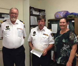 John Macfarlane and Ilpo Ripatti are congratulated by Councillor Jess Milne