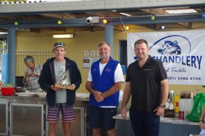Congratulations Glen Foley - the overall winner of the Cooloola Cup, pictured with Commodore Peter Shaw and sponsor, Billy Mitchell, Century 21