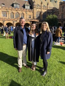 Tarni Palmer, pictured with parents David and Selina Palmer at the University of Sydney.
