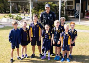 Senior Constable Mike Brantz chatted to the kids about road safety
