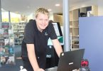 Saturday junior, Kile King, processing the membership check-ins at the entrance to Tin Can Bay Library
