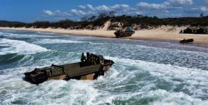 The amphibious LARC-V in action on our local beach