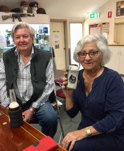 Peter and Bobbie enjoy a farewell drink at the RSL