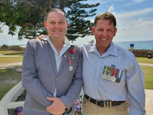 Ming Roberts and Rick Mann of Young Veterans travelled from Gympie to attend the service