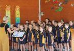 The choir rehearsing for their award-winning Eisteddford performance