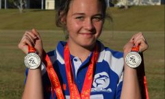 Anjelica Geurts with her haul of silver medals from the Gympie Athletics Spring Carnival